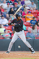 Juan Ramirez (28) of the Kannapolis Intimidators at bat against the Hickory Crawdads at L.P. Frans Stadium on May 25, 2013 in Hickory, North Carolina.  The Crawdads defeated the Intimidators 14-3.  (Brian Westerholt/Four Seam Images)