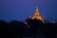 Sunset at Shwenanyindaw Temple, Bagan, Myanmar, Burma.