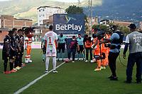ENVIGADO - COLOMBIA, 18–10-2021: Envigado F.C. y Aguilas Doradas Rionegro en partido de la fecha 14 por la Liga BetPlay DIMAYOR II 2021 en el estadio Polideportivo Sur de la ciudad de Envigado. / Envigado F. C. and Aguilas Doradas Rionegro during a match of the 14th date for the BetPlay DIMAYOR II League 2021 at the Polideportivo Sur stadium in Envigado city. / Photos: VizzorImage / Luis Benavides / Cont.