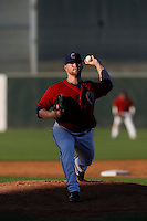 Colton Cain #46 of the Lancaster JetHawks pitches against the Rancho Cucamonga Quakes at The Hanger on August 25, 2013 in Lancaster, California. Lancaster defeated Rancho Cucamonga, 7-1. (Larry Goren/Four Seam Images)
