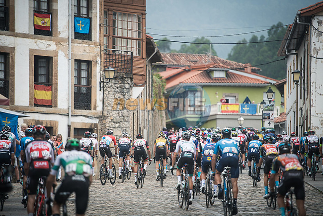 The peloton during Stage 18 of La Vuelta d'Espana 2021, running 162.6km from Salas to Alto del Gamoniteiru, Spain. 2nd September 2021.   <br /> Picture: Unipublic/Charly Lopez | Cyclefile<br /> <br /> All photos usage must carry mandatory copyright credit (© Cyclefile | Charly Lopez/Unipublic)