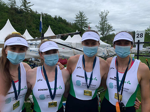 Ireland's Women's Four rowing team with their gold medals at the World Rowing Final Olympic Qualification Regatta in Lucerne