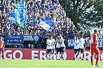 10.08.2019,  GER; DFB Pokal, SV Drochtersen/Assel vs FC Schalke 04 ,DFL REGULATIONS PROHIBIT ANY USE OF PHOTOGRAPHS AS IMAGE SEQUENCES AND/OR QUASI-VIDEO, im Bild Guido Burgstaller (Schalke #19) schiesst das Tor zum 2-0 viorbei an Torhueter Fabian Klinkmann (Drochtersen #01 und jubelt mit der Mannschaft )Foto © nordphoto / Witke *** Local Caption ***