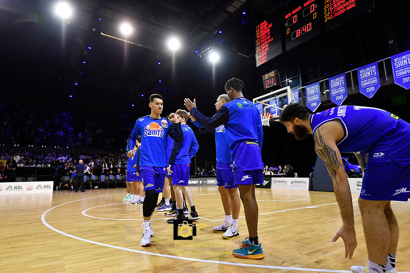 Kenneth Tuffin of the Wellington Saints enters the court during player introductions prior to the NBL match between the Wellington Saints and the Auckland Huskies at TSB Bank Arena, Wellington, New Zealand on Friday 28 May 2021.<br /> Photo by Masanori Udagawa. <br /> www.photowellington.photoshelter.com