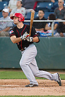 Ryan McBroom #14 of the Vancouver Canadians at bat during a game against the Everett AquaSox at Everett Memorial Stadium in Everett, Washington on July 9, 2014.  Everett defeated Vancouver 9-4.  (Ronnie Allen/Four Seam Images)