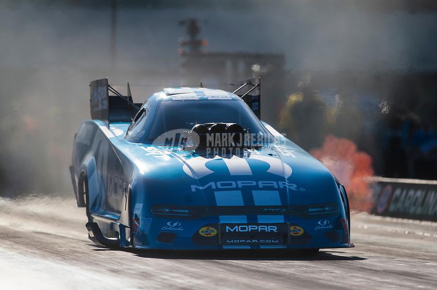Oct 11, 2019; Concord, NC, USA; NHRA funny car driver Matt Hagan during qualifying for the Carolina Nationals at zMax Dragway. Mandatory Credit: Mark J. Rebilas-USA TODAY Sports