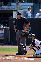 Home plate umpire John Bennett during a game between the Siena Saints and the UCF Knights on February 17, 2019 at John Euliano Park in Orlando, Florida.  UCF defeated Siena 7-1.  (Mike Janes/Four Seam Images)