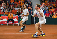 The Hague, The Netherlands, September 16, 2017,  Sportcampus , Davis Cup Netherlands - Chech Republic, Doubles : Robin Haase (NED) / Matwe Middelkoop (NED) in the background captain Paul Haarhuis<br /> Photo: Tennisimages/Henk Koster