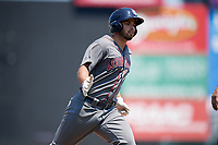 Lehigh Valley IronPigs left fielder Damek Tomscha (47) rounds the bases after hitting a home run in the top of the fifth inning during a game against the Rochester Red Wings on July 1, 2018 at Frontier Field in Rochester, New York.  Rochester defeated Lehigh Valley 7-6.  (Mike Janes/Four Seam Images)