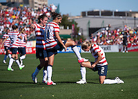 Heather O'Reilly, Carli Lloyd, Heather Mitts.  The USWNT defeated Costa Rica, 8-0, during a friendly match at Sahlen's Stadium in Rochester, NY.