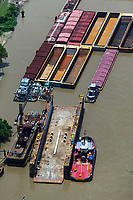 aerial photograph of barges and tug boats on the Mississippi river at New Orleans, Louisiana