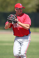 March 30, 2010:  Third Baseman Adam Buschini (26) of the Philadelphia Phillies organization during Spring Training at the Carpenter Complex in Clearwater, FL.  Photo By Mike Janes/Four Seam Images