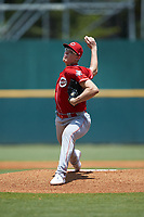 Starting pitcher Peyton Smith (62) of East Robertson HS in Springfield, TN playing for the Cincinnati Reds scout team during the East Coast Pro Showcase at the Hoover Met Complex on August 3, 2020 in Hoover, AL. (Brian Westerholt/Four Seam Images)