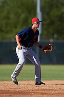 Cleveland Indians Luke Wakamatsu (12) during an instructional league game against the Milwaukee Brewers on October 8, 2015 at the Maryvale Baseball Complex in Maryvale, Arizona.  (Mike Janes/Four Seam Images)