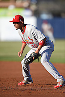 Palm Beach Cardinals first baseman Ildemaro Vargas (18) during a game against the Charlotte Stone Crabs on April 12, 2014 at Charlotte Sports Park in Port Charlotte, Florida.  Palm Beach defeated Charlotte 6-2.  (Mike Janes/Four Seam Images)