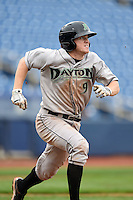 Dayton Dragons third baseman Tanner Rahier (9) runs to first during a game against the Lake County Captains on June 8, 2014 at Classic Park in Eastlake, Ohio.  Lake County defeated Dayton 4-2.  (Mike Janes/Four Seam Images)