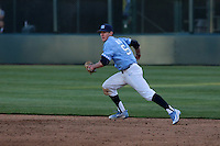 Brian Miller (5) of the North Carolina Tar Heels in the field during a game against the UCLA Bruins at Jackie Robinson Stadium on February 20, 2016 in Los Angeles, California. UCLA defeated North Carolina, 6-5. (Larry Goren/Four Seam Images)
