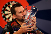 9th October 2021; Morningside Arena, Leicester, England; PDC BoyleSports Darts World Grand Prix finals ; Jonny Clayton is pictured with the the Boylesports World Grand Prix trophy