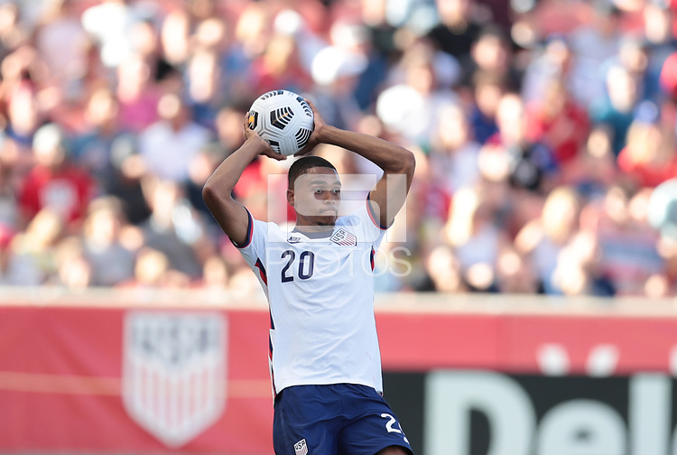 SANDY, UT - JUNE 10: Reggie Cannon #20 of the United States with a throw in during a game between Costa Rica and USMNT at Rio Tinto Stadium on June 10, 2021 in Sandy, Utah.