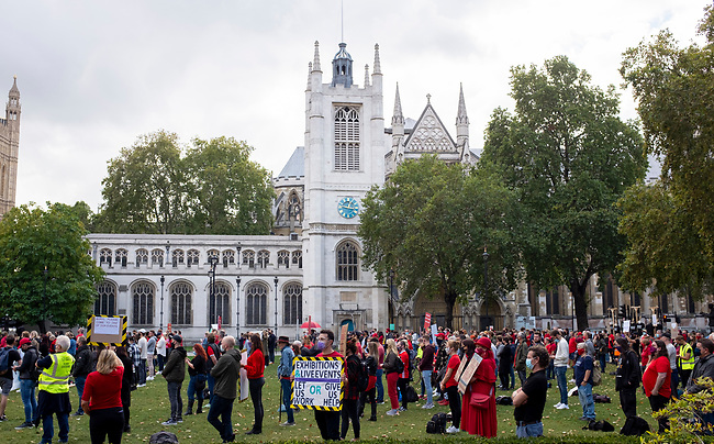 Workers from the UK events industry observe thirty minutes of silence in protest of the government handling of the coronavirus outbreak response, in Parliament Square in London, Tuesday, 29th of September. The protest has been organised by We Stand As One #WeMakeEvents who are calling for meaningful support from the Government until the industry is allowed to operate for an industry that provides over 600,000 jobs in UK. Photo: AMMP/Bogdan Maran