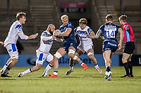 12th February 2021; AJ Bell Stadium, Salford, Lancashire, England; English Premiership Rugby, Sale Sharks versus Bath; Jean-Luc du Preez of Sale Sharks is tackled by Tom Dunn of Bath Rugby