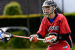 GER - Hannover, Germany, May 30: During the Men Lacrosse Playoffs 2015 match between HTHC Hamburg (black) and DHC Hannover (red) on May 30, 2015 at Deutscher Hockey-Club Hannover e.V. in Hannover, Germany. Final score 17:2. (Photo by Dirk Markgraf / www.265-images.com) *** Local caption *** Sebastian von Tippelskirch #28 of DHC Hannover