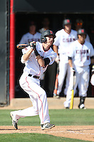 William Colantono (3) of the Cal State Northridge Matadors bats during a game against the UC Santa Barbara Gouchos at Matador Field on April 10, 2015 in Northridge, California. UC Santa Barbara defeated Cal State Northridge, 7-4. (Larry Goren/Four Seam Images)