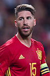 Sergio Ramos (C) of Spain reacts during their 2018 FIFA World Cup Russia Final Qualification Round 1 Group G match between Spain and Italy on 02 September 2017, at Santiago Bernabeu Stadium, in Madrid, Spain. Photo by Diego Gonzalez / Power Sport Images