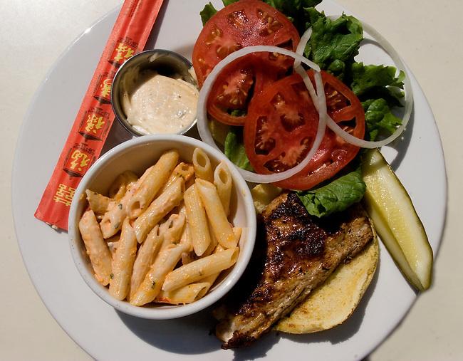 Grilled Fish Sandwich, Pasta Salad, Hue Restaurant, Orlando, Florida