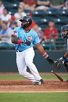 Tyreque Reed (37) of the Hickory Crawdads at bat against the Charleston RiverDogs at L.P. Frans Stadium on August 10, 2019 in Hickory, North Carolina. The RiverDogs defeated the Crawdads 10-9. (Brian Westerholt/Four Seam Images)
