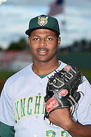 Lynchburg Hillcats pitcher Mauricio Cabrera (22) poses for a photo before a game against the Salem Red Sox on April 25, 2014 at Lewisgale Field in Salem, Virginia.  Salem defeated Lynchburg 10-0.  (Mike Janes/Four Seam Images)