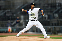 Starting pitcher Merandy Gonzalez (38) of the Columbia Fireflies delivers a pitch for the South team in the South Atlantic League All-Star Game on Tuesday, June 20, 2017, at Spirit Communications Park in Columbia, South Carolina. The game was suspended due to rain after seven innings tied, 3-3. (Tom Priddy/Four Seam Images)