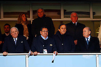 Michel Platini and Joseph Blatter of FIFA watch the USA v Slovenia game