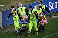 Jake Polledri of Italy , injured, leaves the pitch on a stretcher during the rugby Autumn Nations Cup's match between Italy and Scotland at Stadio Artemio Franchi on November 14, 2020 in Florence, Italy. Photo Andrea Staccioli / Insidefoto