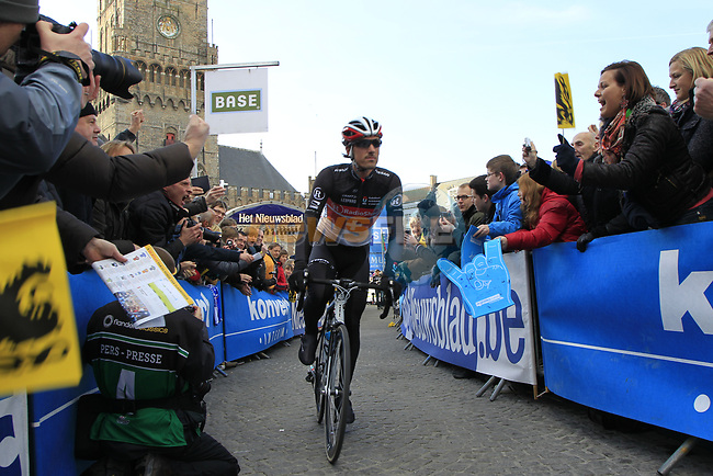 Swiss National Champion Fabian Cancellara (SUI) Radioshack-Nissan arrives at sign on before the start of the 96th edition of The Tour of Flanders 2012 in Bruges Market Square, running 256.9km from Bruges to Oudenaarde, Belgium. 1st April 2012. <br /> (Photo by Eoin Clarke/NEWSFILE).
