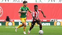 Joel Valencia of Brentford outpaces Preston's Sean Maguire during Brentford vs Preston North End, Sky Bet EFL Championship Football at Griffin Park on 15th July 2020