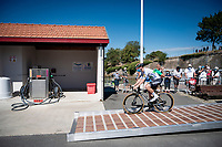 Sam Bennett (IRE/Deceuninck-Quick Step) (ready to fuel up?) at the race start in Le Château-d'Oléron<br /> <br /> Stage 10 from île d'Oléron (Le Château-d'Oléron) to Île de Ré (Saint-Martin-de-Ré)(169km)<br /> <br /> 107th Tour de France 2020 (2.UWT)<br /> (the 'postponed edition' held in september)<br /> <br /> ©kramon