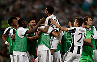 Calcio, Tim Cup: finale Juventus vs Lazio. Roma, stadio Olimpico, 17 maggio 2017.<br /> Juventus' Dani Alves, top center, celebrates with teammates after scoring during the Italian Cup football final match between Juventus and Lazio at Rome's Olympic stadium, 17 May 2017.<br /> UPDATE IMAGES PRESS/Isabella Bonotto