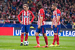 Atletico de Madrid Antoine Griezmann, Filipe Luis and Gabi Fernandez during UEFA Champions League match between FK Qarabag and Atletico de Madrid at Wanda Metropolitano in Madrid, Spain. October 31, 2017. (ALTERPHOTOS/Borja B.Hojas)