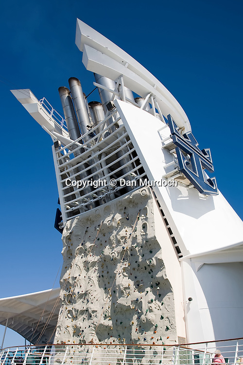 "The smokestack and climbing wall on the Royal Caribbean cruise ship ""Explorer of the Seas""."