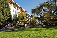 A clear day in the fall at the University of California campus in Berkeley, California.