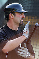Paul Konerko #14 of the Chicago White Sox before a game against the Los Angeles Dodgers at Dodger Stadium on June 15, 2012 in Los Angeles, California. Los Angeles defeated Chicago 7-6. (Larry Goren/Four Seam Images)