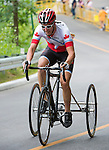 TORONTO, ON, AUGUST 8, 2015. Louis-Albert Corriveau-Jolin of Canada wins a bronze medal in men's T1-2 Road Race at the ParaPan Am Games.<br /> Photo: Dan Galbraith/Canadian Paralympic Committee