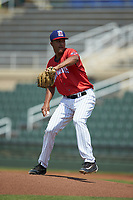 Piedmont Boll Weevils starting pitcher Johan Dominguez (31) in action against the Greensboro Grasshoppers at Kannapolis Intimidators Stadium on June 16, 2019 in Kannapolis, North Carolina. The Grasshoppers defeated the Boll Weevils 5-2. (Brian Westerholt/Four Seam Images)