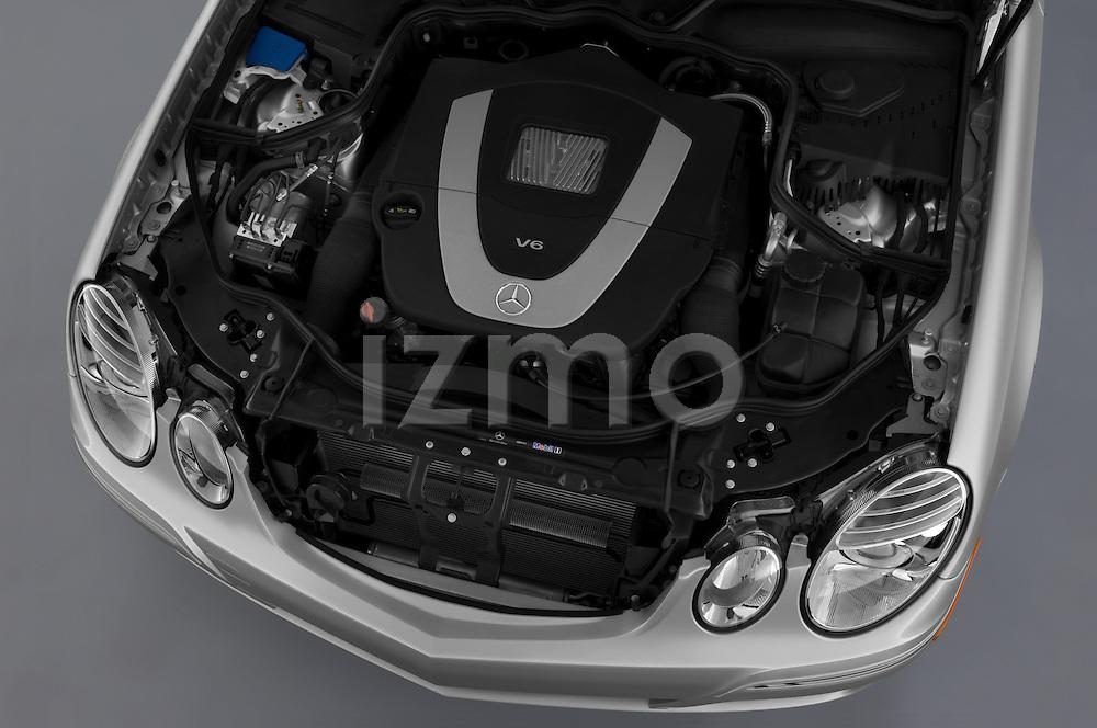 High angle engine detail of a  2009 Mercedes E Class Wagen 350.