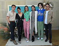 """BEVERLY HILLS, CA - MAY 26: (L-R) Actors Michael Provost, Kuhoo Verma, Director Natalie Morales, and actors Victoria Moroles, Mason Cook, and Timothy Granderos attend a special event for the Hulu original film """"Plan B"""" at L'Ermitage Beverly Hills on May 26, 2021 in Beverly Hills, California. (Photo by Frank Micelotta/HULU/PictureGroup)"""