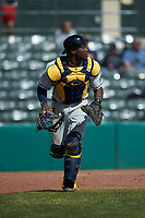West Virginia Mountaineers catcher Paul McIntosh (34) on defense against the Illinois Fighting Illini at TicketReturn.com Field at Pelicans Ballpark on February 23, 2020 in Myrtle Beach, South Carolina. The Fighting Illini defeated the Mountaineers 2-1.  (Brian Westerholt/Four Seam Images)