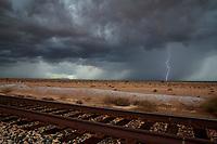 Lightning, storm, storm chasing, storm chaser, Arizona, weather, clouds, desert, mountains, rain, monsoon, train, tracks, traintracks