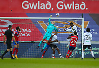31st October 2020; Liberty Stadium, Swansea, Glamorgan, Wales; English Football League Championship Football, Swansea City versus Blackburn Rovers; Aynsley Pears of Blackburn Rovers punches the ball clear from under his bar