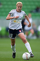 MELBOURNE, AUSTRALIA - DECEMBER 18: Amy JACKSON of the Victory controls the ball during the round 7 W-League match between the Melbourne Victory and the Perth Glory at AAMI Park on December 18, 2010 in Melbourne, Australia. (Photo Sydney Low / asteriskimages.com)
